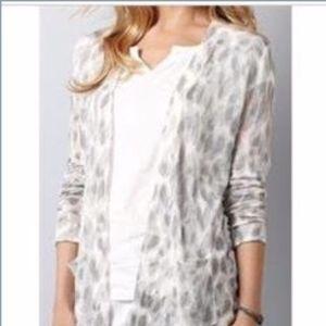 LOFT Animal Print Open Cardigan Sweater PXXS